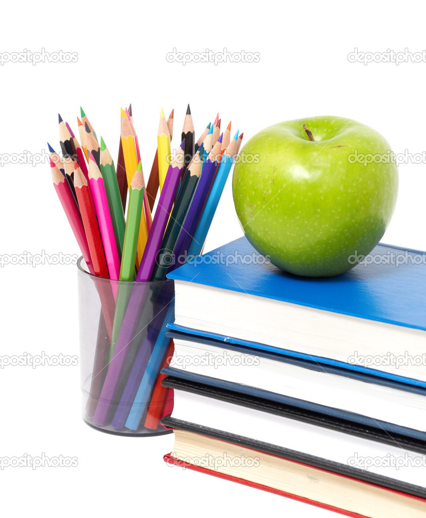Apple, books and colored pencil — Stock Photo © merznatalia #5243028