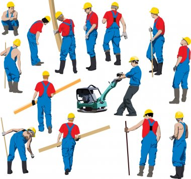 Team of Construction workers in blue workwear an yellow helmets. Vector illustration. Other vector in my portfolio.