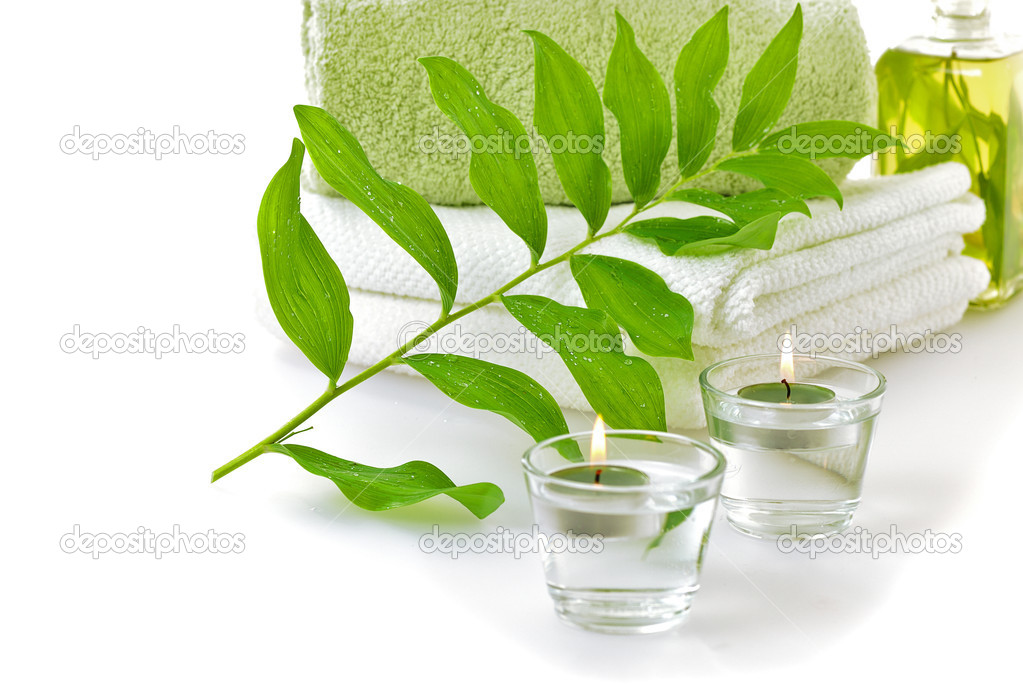 Spa with green leaf