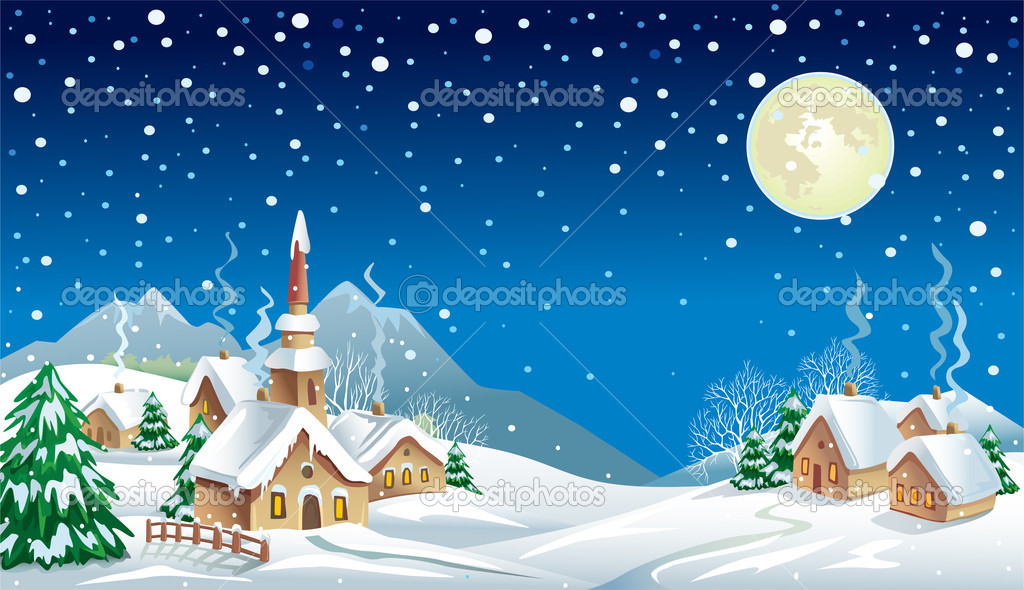 Christmas night in the village