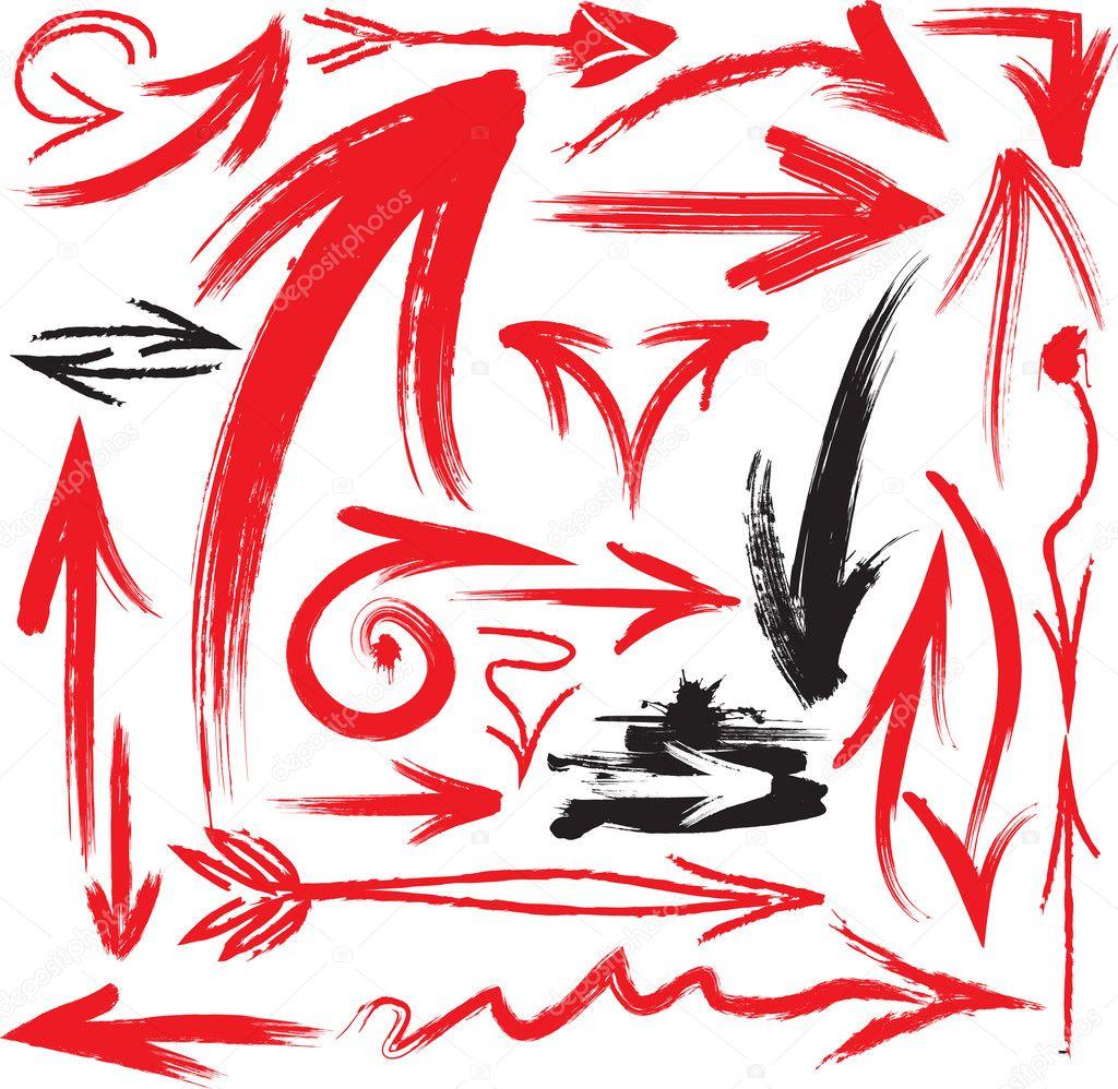 Set of handwritten arrows