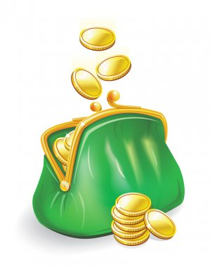 Gold coins fall into a green purse