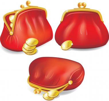 Set of red purse with gold coins