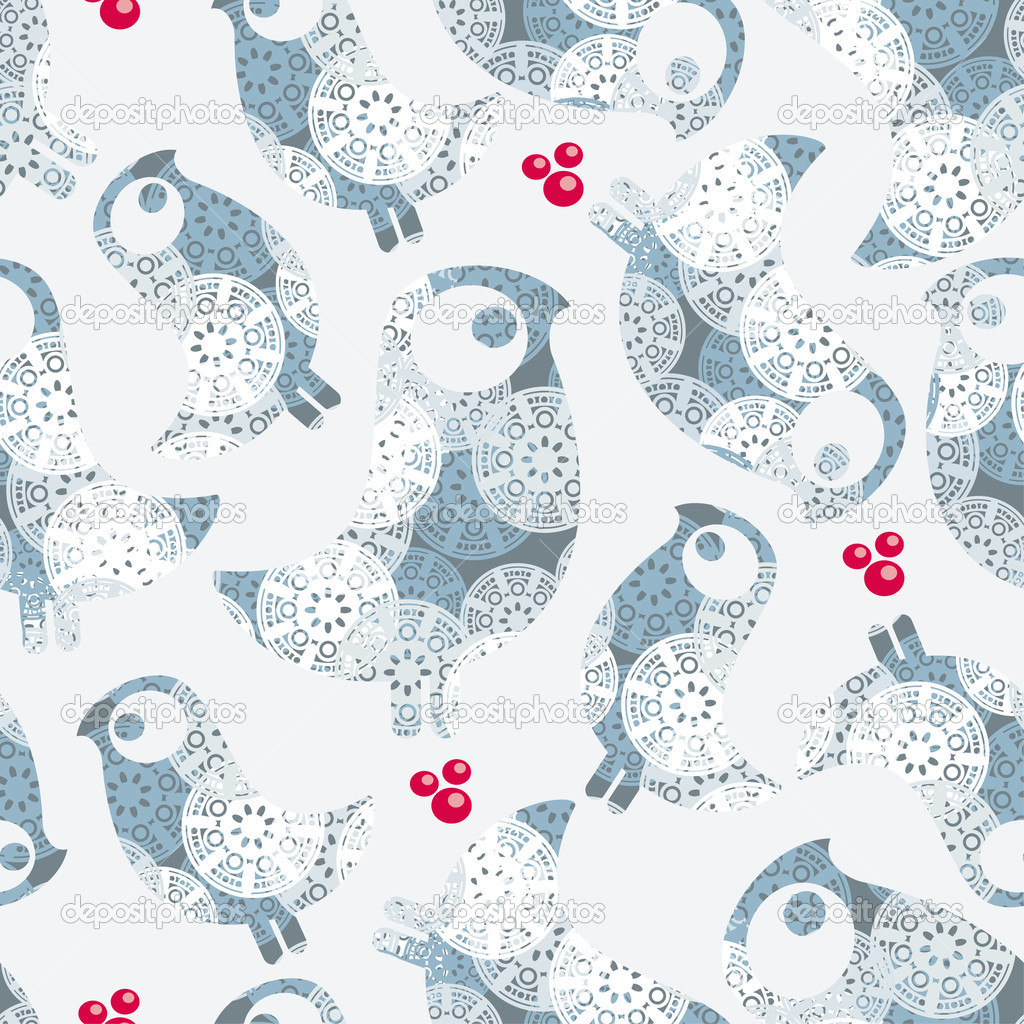 Seamless winter pattern with birds.