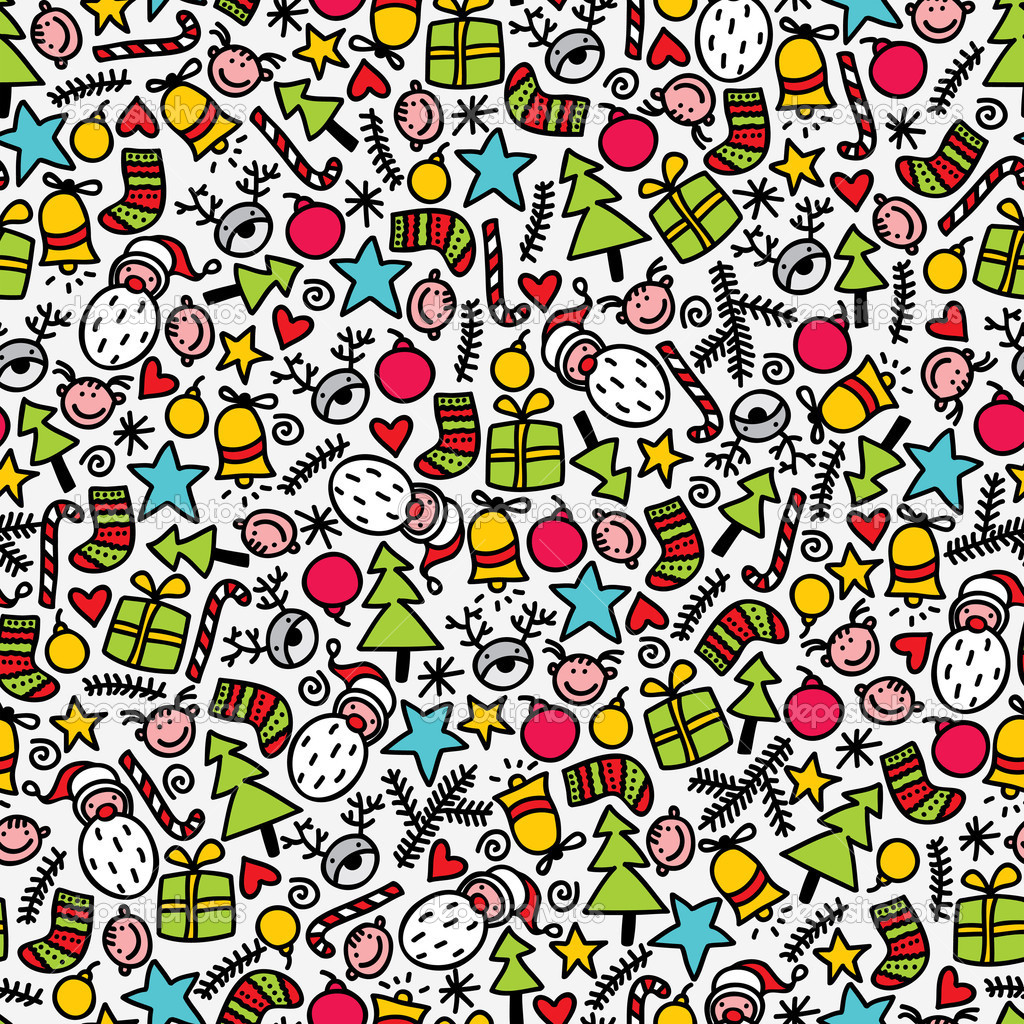 Seamless doodle Christmas pattern.