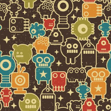 Robot and monsters modern seamless pattern in retro style. clip art vector