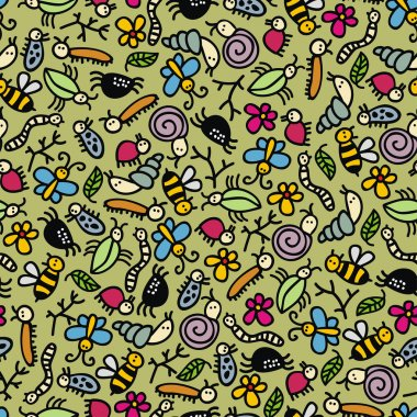 Insects world seamless pattern.