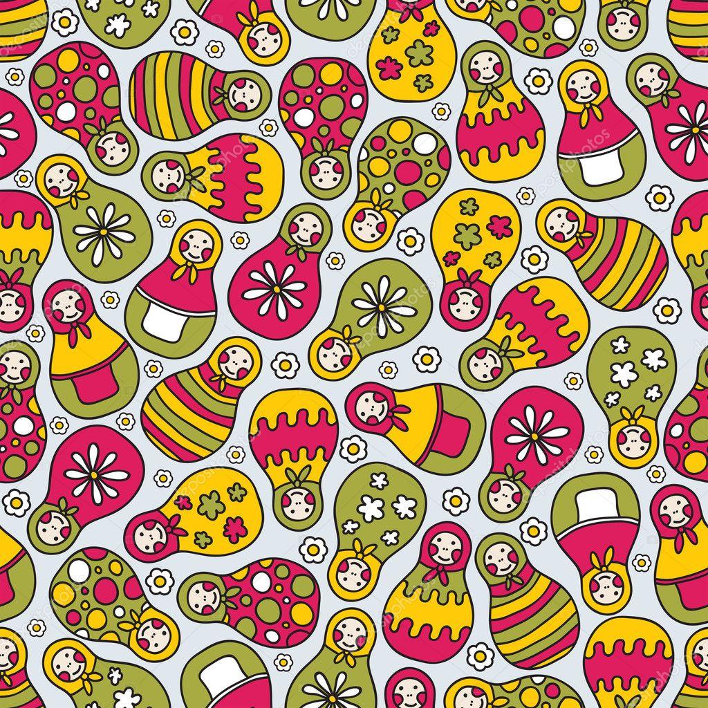 Matreshka doll seamless pattern.