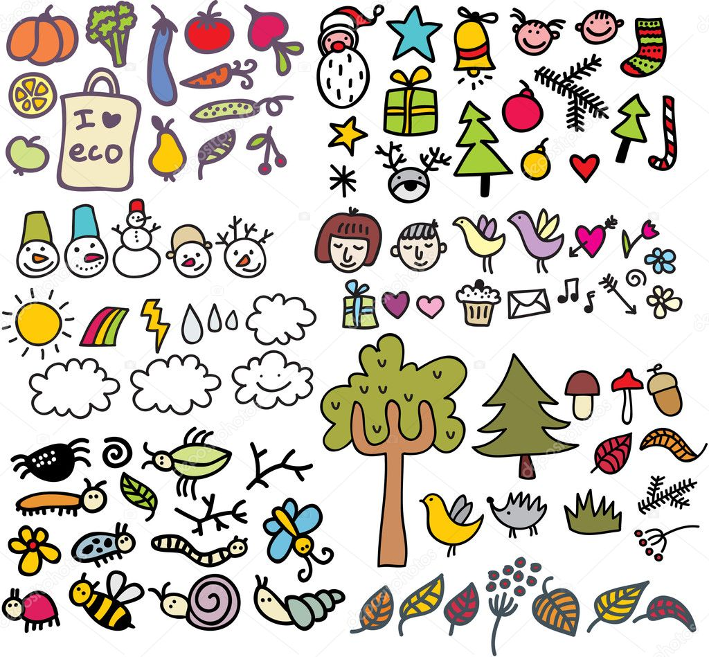 Mix of doodle images in vector. vol. 1