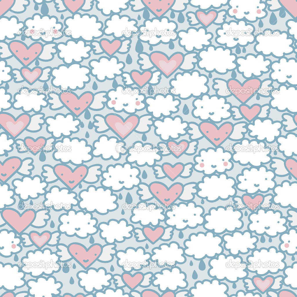 Seamless pattern with hearts and clouds.