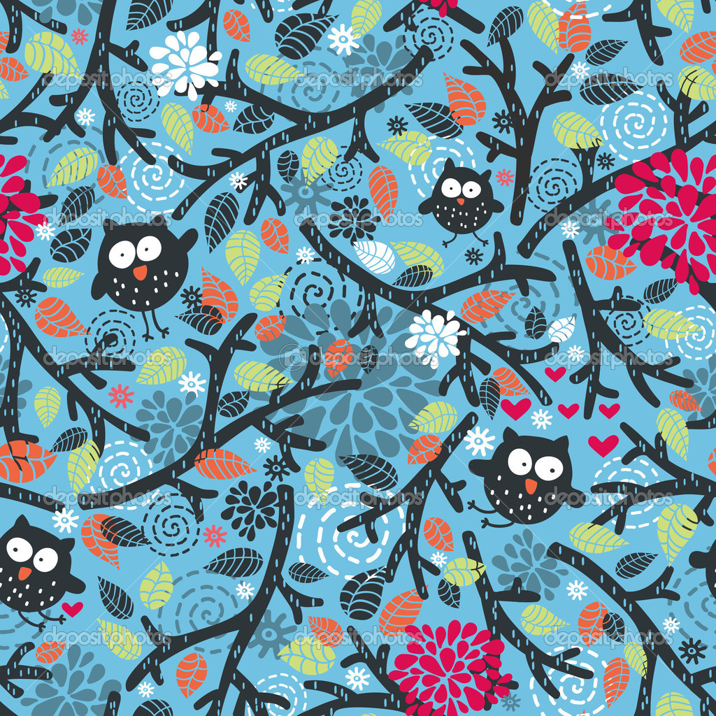 Seamless pattern with owls and floral elements on blue.