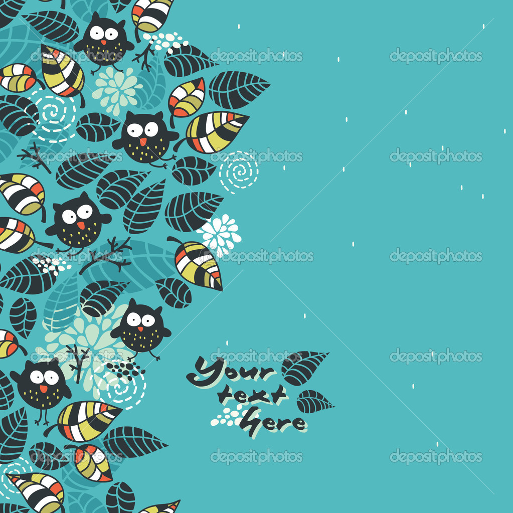 Seamless pattern with owls and flora.