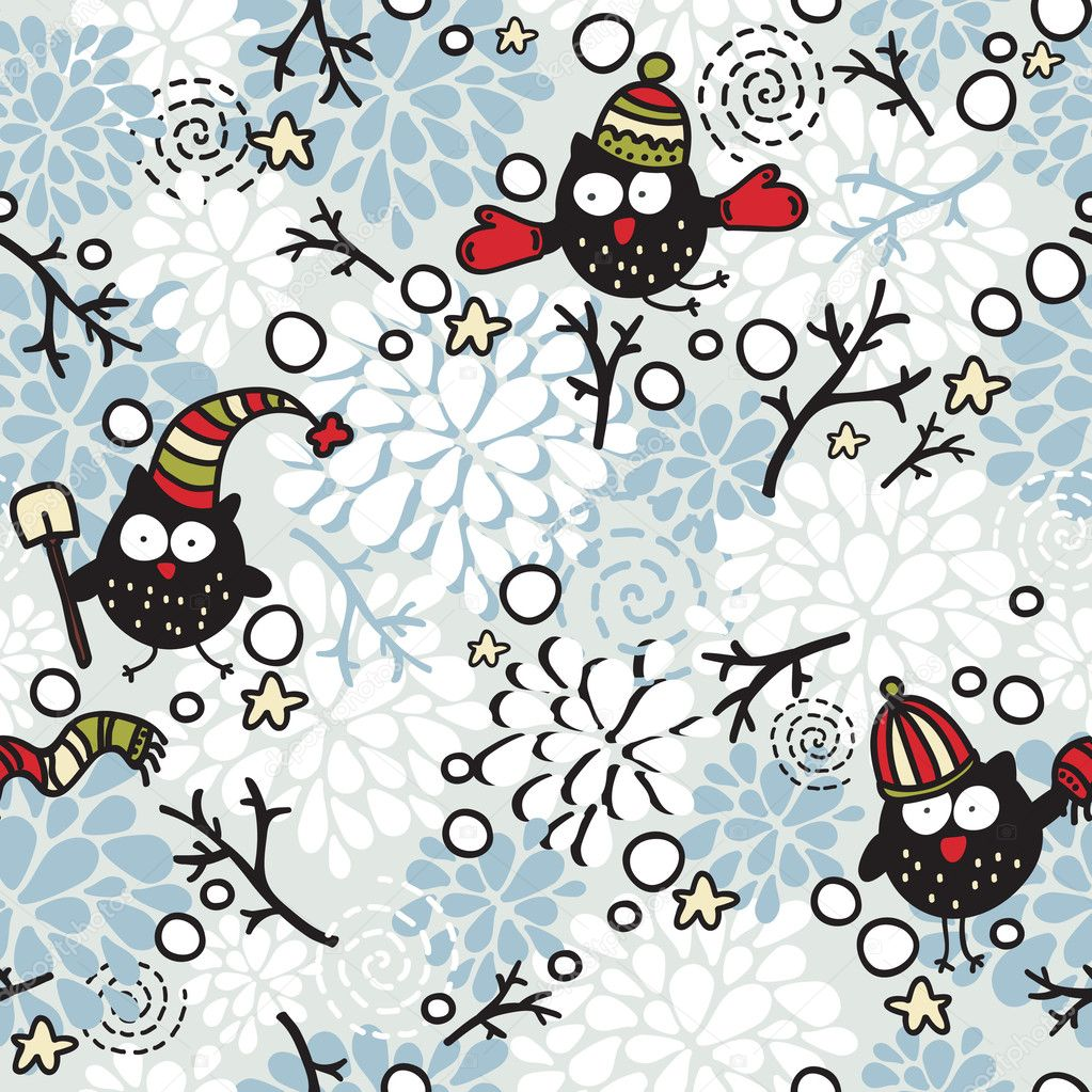 Winter seamless pattern with owl and snow.