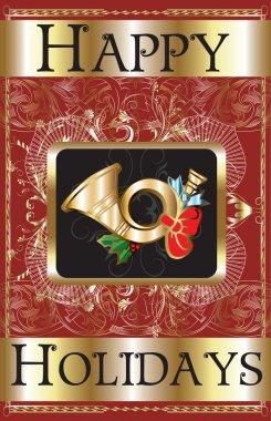 Vector Illustration of a Happy Holidays Gold Horn Poster. clip art vector