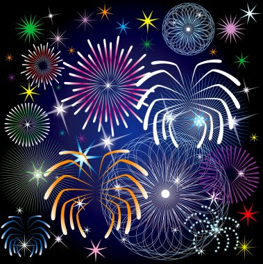 Illustration of colorful fireworks