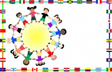 Cultural kids with flags