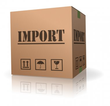 Import shipping goods cardboard box