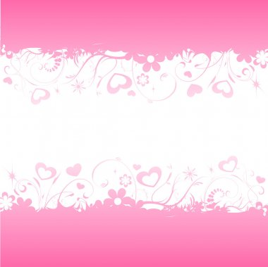 Pink background with hearts and flowers growing clip art vector