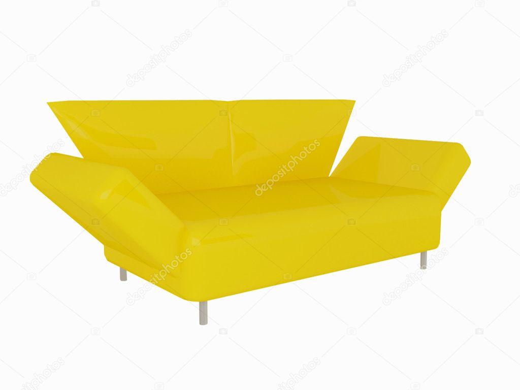 Moderne gelbes Sofa isoliert — Stockfoto © kosheen #4054425