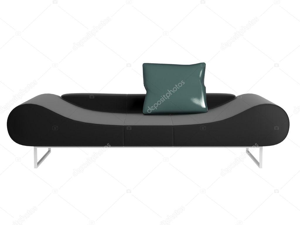 Divano Nero Moderno : Divano nero moderno isolato u foto stock kosheen