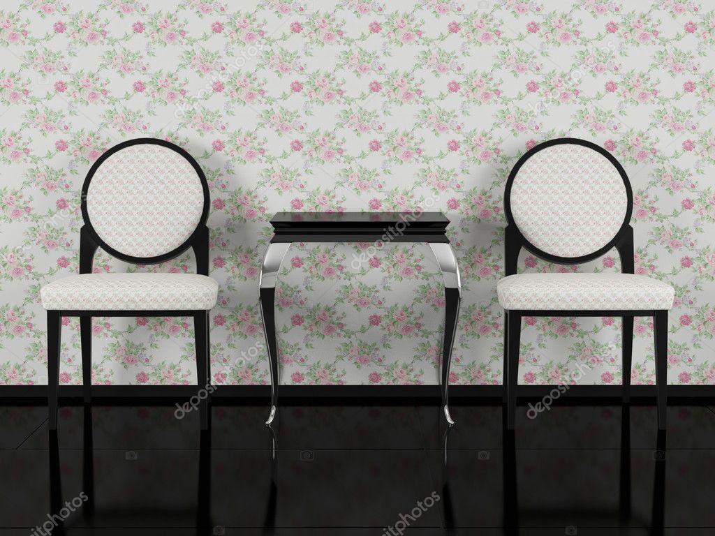 Twee Klassieke Fauteuils.Woonkamer Twee Klassieke Fauteuils Met Salontafel Stockfoto