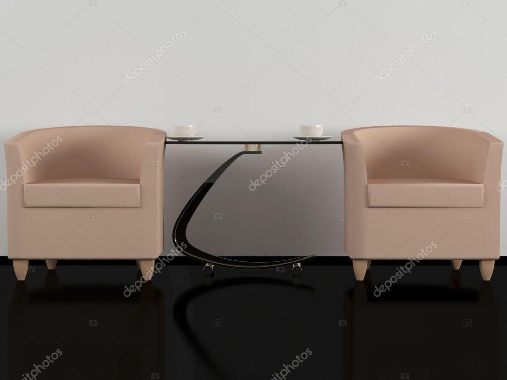 mesa de café en la sala de estar Marrn Sofs Y Mesa De Caf Sala De Estar Fotos De Stock