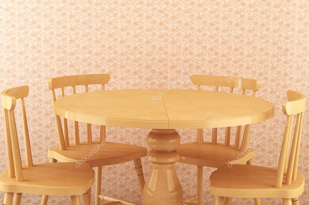 Salle A Manger 4 Chaises Avec Table En Bois Ronde Photographie