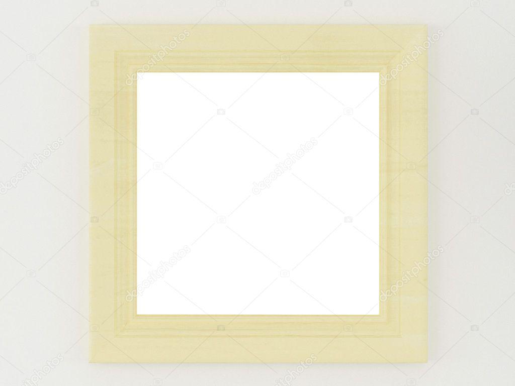 einfache Holzrahmen auf eine weiße Wand — Stockfoto © kosheen #4700918