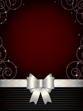 Christmas background with silver bow