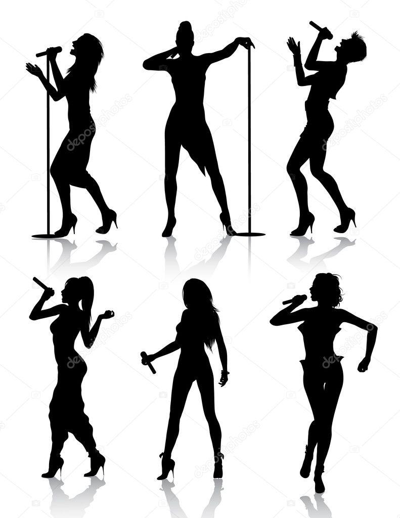 Female singers silhouette set