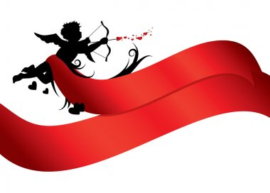 Cupid silhouette with red ribbons isolated on white background clip art vector