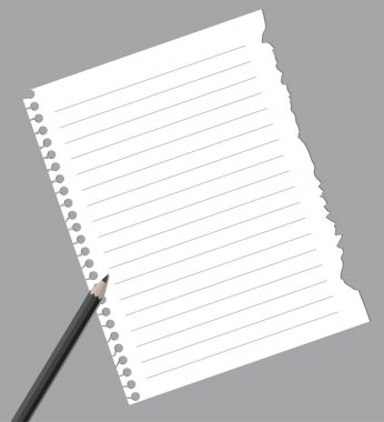 Notebook paper with pencil isolated on gray background clip art vector