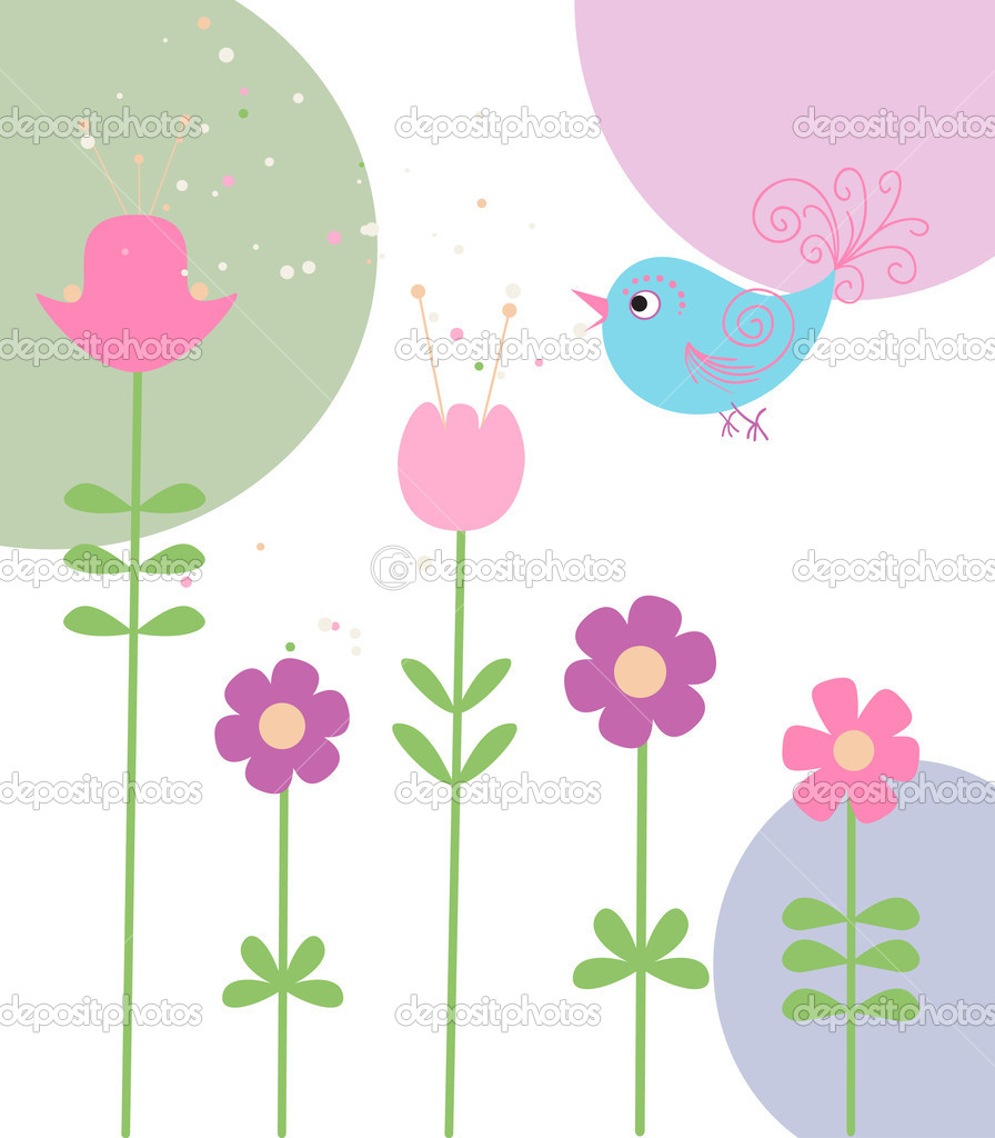 Cute flowers and bird