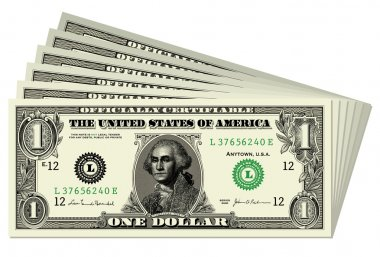 Set of vector dollar bills. All pieces are separated and easy to edit.