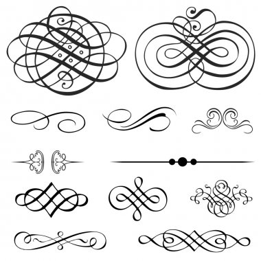 Set of detailed ornaments. Perfect for certificates and invitations. stock vector