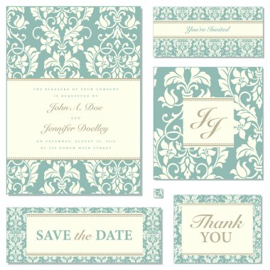 Vector Pastel Florals Wedding Frame Set