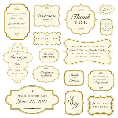Set of vector ornate gold frames. Easy to edit. Perfect for invitations and announcements.