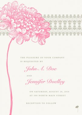 Vector Pink Flower Wedding Frame and Background