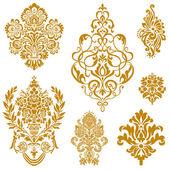 set di ornamento damascato oro vettoriale