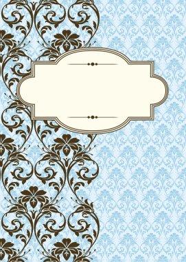 Vector Side Damask Pattern and Frame