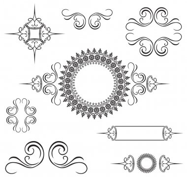 Set of vector ornaments. Perfect for invitations or announcements. stock vector
