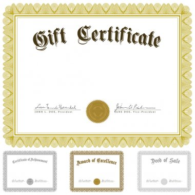 Set of ornate certificate frames. Easy to edit. Perfect for certificates, invitations or announcements. tor Certificate and Awards Frame Set stock vector