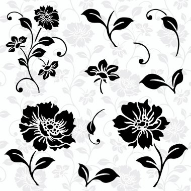 Vector Floral Icons and Seamless Pattern
