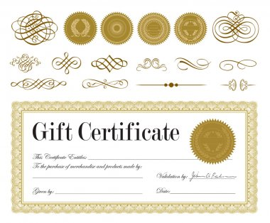 Vector Bronze Certificate Frame, Seals, and Ornaments