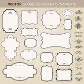 Fényképek Vektor díszes keret és dísz-készlet