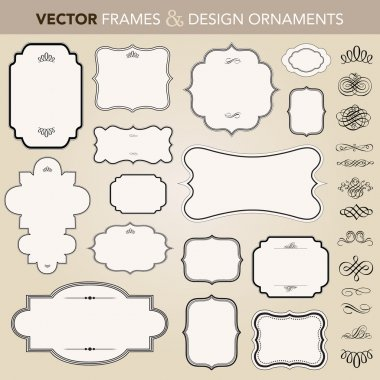 Vector Ornate Frame and Ornament Set