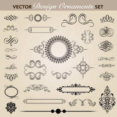 Set of decorative ornaments. Easy to edit. Perfect for invitations or announcements. stock vector