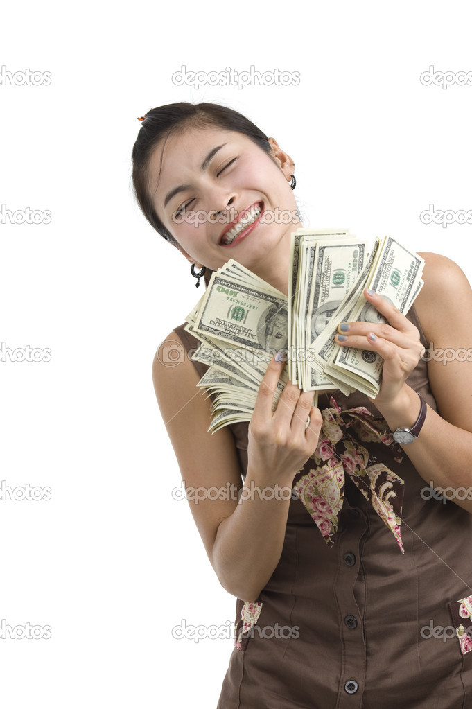 woman with lots of money