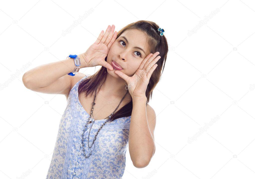 Frau mit gerahmten Gesicht und die Zunge raus — Stockfoto © macky_ch ...