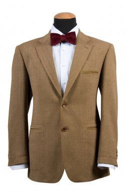 Front view of elegant brown suit